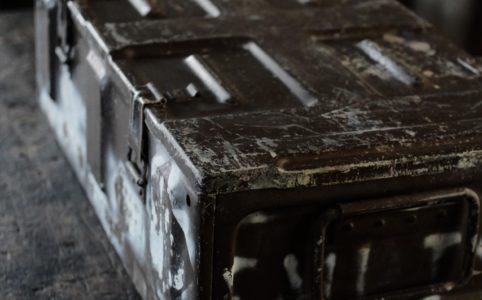 弾薬の収納に使われていた鉄製の箱