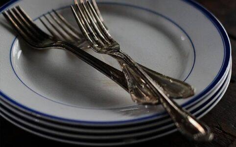 山庄製陶所 IRONSTONE ブルーラインの皿 φ22.5cm